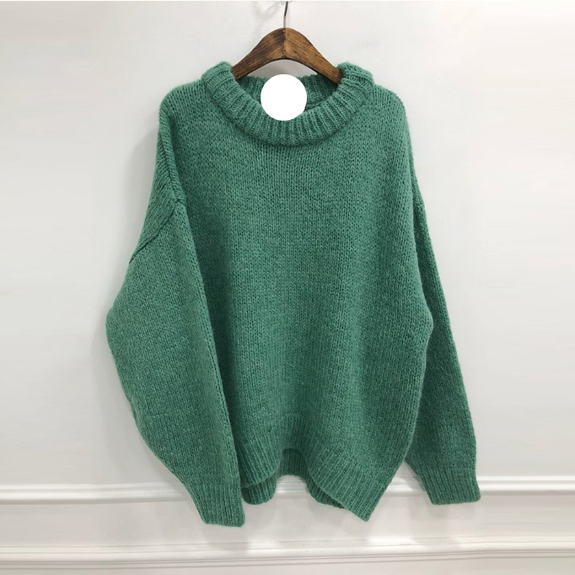 2019 Women Warm Winter Clothes Solid Bright Color Sweater Batwing Sleeve Knitted Thick Jumper Loose Casual Top Streetwear