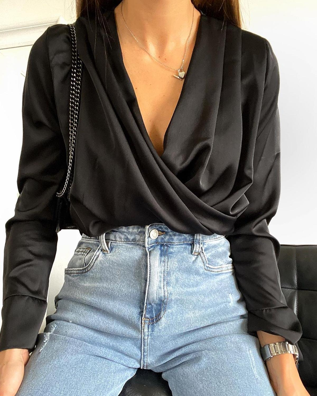 Shyloli Women Satin v Neck Sexy Tops And Blouse Solid Color Fashion Summer Autumn Long Sleeve Shirts Party Club Fashion 2020