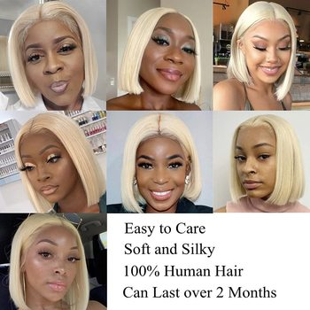 4x4 Lace Closure Blonde Bob Wig 613 Blonde Closure Wig Remy Human Hair Straight Short Bob Wig Middle Part 4x4 Lace Closure Wig 5