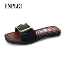 ENPLEI Fashion Women Summer Flat Heel Square Buckle Sandals Leisure Slipper Small Fresh Casual Shoes Sandales 2019 zapatos mujer(China)