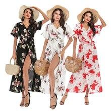 V-Neck Chiffon Summer Dress 5 Style Flower Sexy Dress Women Waist Slim A-Line Short Sleeve Dresses Print S M L XL 6094 цена и фото