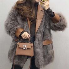 Женское зимнее пальто из натурального Лисьего меха кожаная куртка