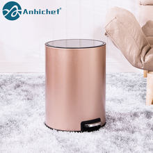 Trash Bin 6L 10L 12L With Cover Stainless Steel Trash Can with Removable Inner Bucket Dustbin Garbage Rubbish Bin