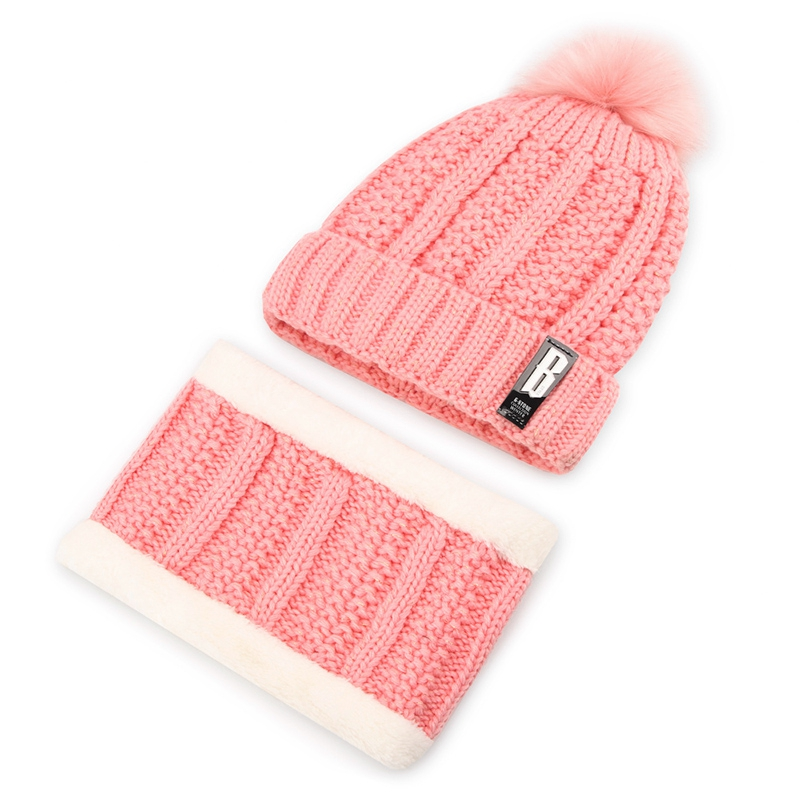 012019Women's Winter Wool Hat Plus Velvet Knit Hat, Warm Ear Protector Collar Set Of Two Sets, Hair Ball Cute Pullover Cap