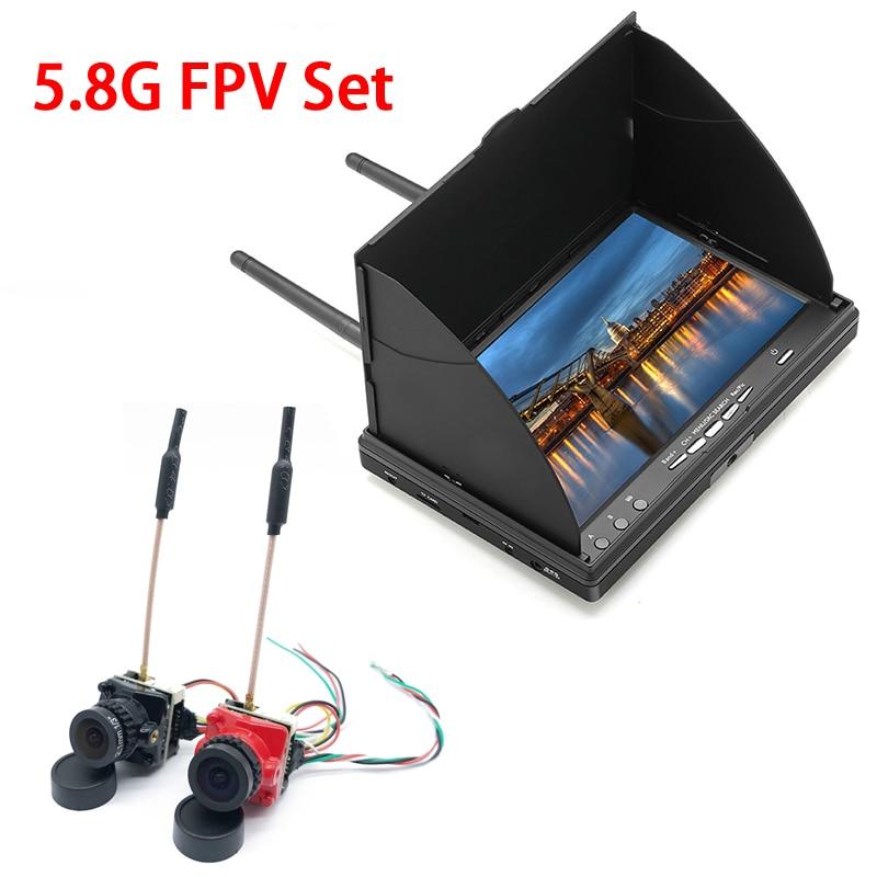 5.8G 40CH 7 بوصة FPV مراقب 800x480 البناء في بطارية الفيديو شاشة و CMOS 1200TVL PAL /NTSC 2.1 مللي متر عدسة كاميرا دقيقة ل FPV-في قطع غيار وملحقات من الألعاب والهوايات على  مجموعة 1