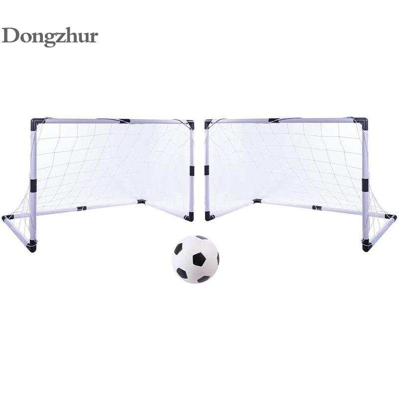 2pc/set DIY  Portable Football Soccer Goal Net With Soccer Ball Pump Kids Mini Football Gate Toy Sport For Children Kids