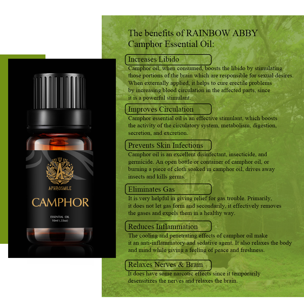 White camphor essential oil 10ml White Oils Fomous Mosquito Repellent Deodorant Camphor DIY