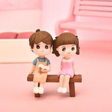3pcs/Set Figures Chair Book Lover Couple DIY Mini Fairy Garden Ornament Doll Couple Gift Figurines Miniature