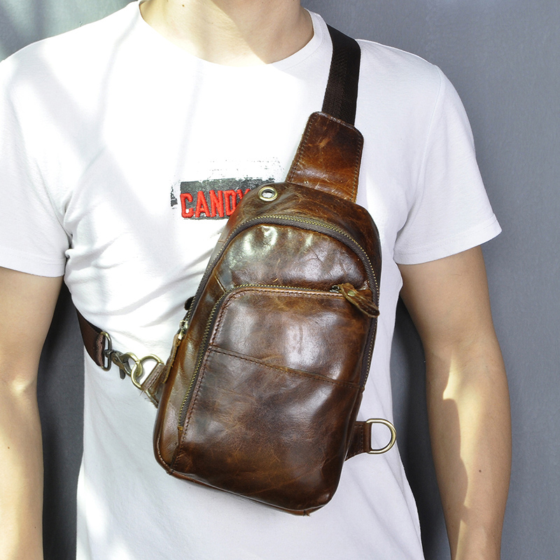 Men Quality Real Leather Casual Fashion Fanny Waist Pack Chest Bag Design Sling One Shoulder Crossbody Bag For Male 8010-c