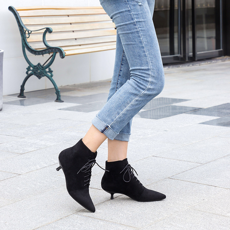 Woman Boots Ankle Short Flock Pointed Toe Square Heels Winter Booties 2019 Slip On Women Martin Black