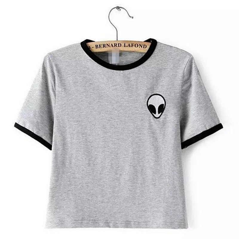 2019 nowy harajuku moda dziewczyny T koszula kobiety wydrukowane bluzki szary/koszulka w paski lato styl T-shirt Plus rozmiar kobieta Casual t-shirty