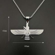 Gold color Hip hop Faravahar Ahura Mazda Pendant necklaces 316L Stainless Steel male vintage Zoroastrianism Necklace jewelry