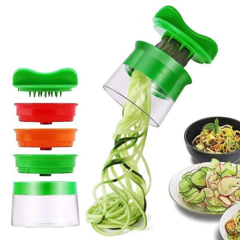 Овощерезка, спиральный резак, терка для овощей с 3 лезвиями для моркови, огурцов, картофеля, тыквы, цукини, кухонное приспособление