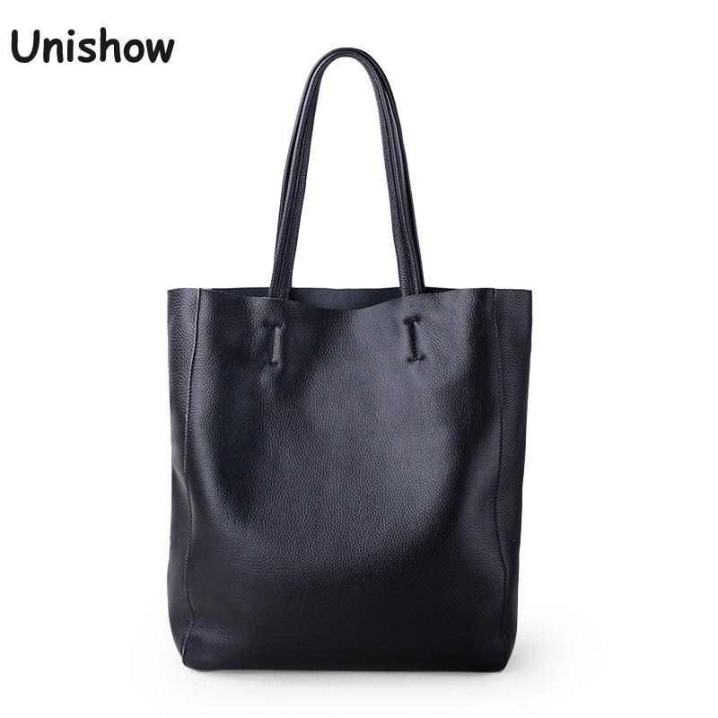 Einfache Casual Leder Frauen Schulter Tasche Luxus Marke Designer Echtes Leder Dame Handtaschen Pendler Tasche Große Weibliche Totes Tasche