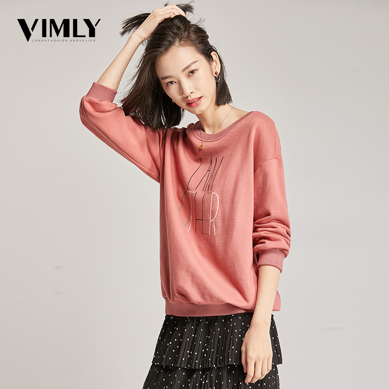 Vimly Women Printing Solid Color Sweatshirt Pullover Female O Neck Autumn Casual Sweatshirt Female Tracksuit Stylish Street Wear