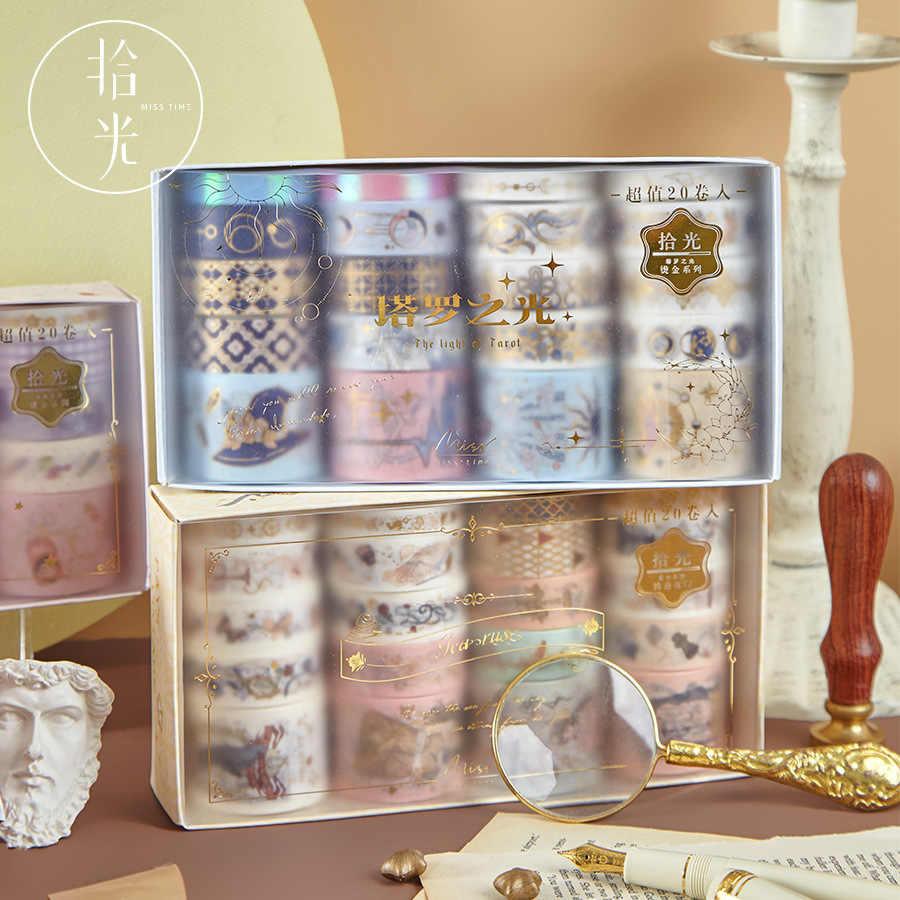 Paquete de 20 unidades, Washi dorado Retro, conjunto de cintas adhesivas, decoración Diy, pegatina de Scrapbooking, cinta decorativa de papel adhesivo