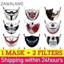Zawaland adulto criança máscaras reutilizáveis lavável tecido boca caps impressão rosto capa engraçado halloween festa máscara filtros dropshpping