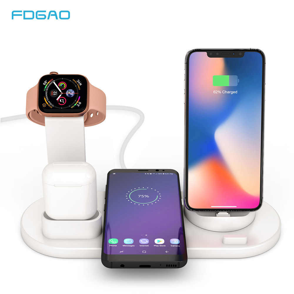 Fdgao 10W Qi Wireless Charger Stand 3 In 1 Pengisian Dock Station untuk Apple Watch Airpods Pro iPhone 11 Pro X XS Max XR 8 7 Plus