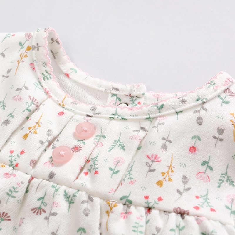 Bayi Gaun Anak-anak Bayi Gadis Gaun Musim Gugur Musim Dingin Floral 3-1 Lengan Panjang Tutu Plaid Gadis Gaun Ikat Kepala pakaian
