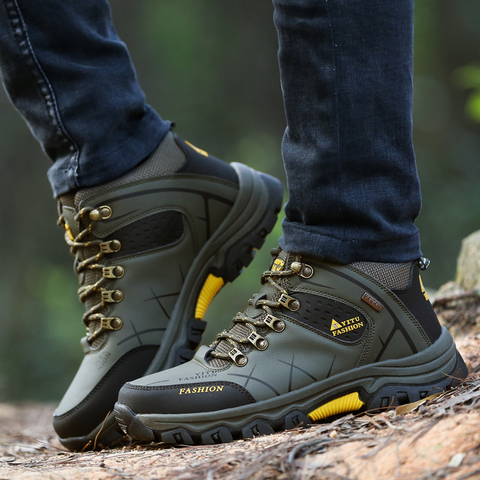 JUNJARM Brand Men Winter Snow Boots Warm Super Men High Quality Waterproof Leather Sneakers Outdoor Male Hiking Boots Work Shoes Multan