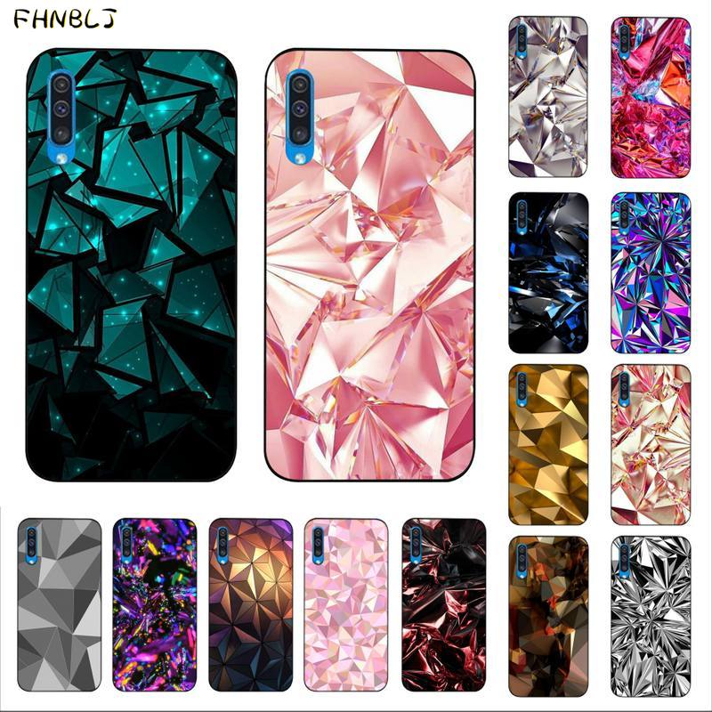 FHNBLJ Geometric Gold Purple Pink Diamond Phone Case Cover for Samsung A10 20s 71 51 <font><b>10</b></font> s 20 30 40 <font><b>50</b></font> 70 A30s cover image