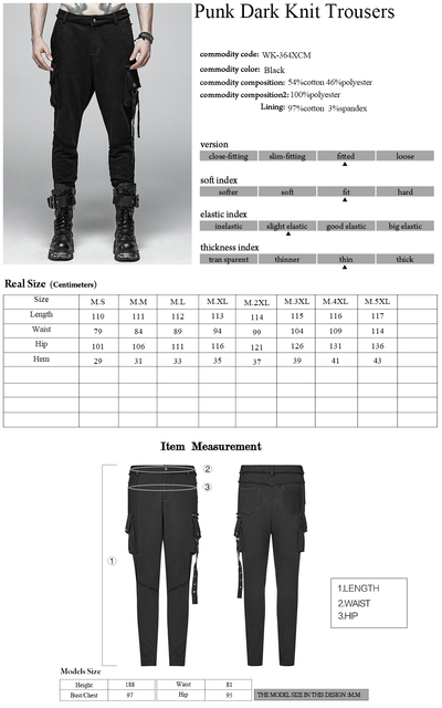 PUNK RAVE Mens Punk Rock Black Knit Trousers Casual Mens Streetwear Big Pocket Long Punk Personality Cross Pants 6