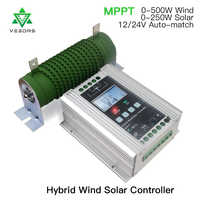 750-1400W MPPT Solar Charge controller 12/24V Hybrid Wind Solar Regulator Battery tracker controller With Free Load Dump