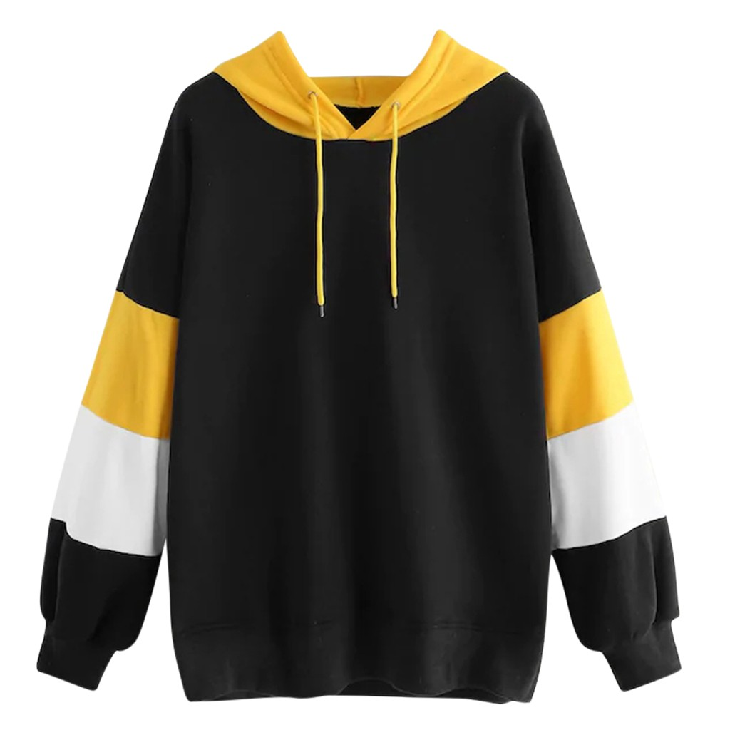 2020 Fashion Women Hooded Sweatshirt Casual Long Sleeve Hooded Patchwork Sport Sweatershirt Tops Moletom Feminino Inverno