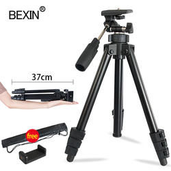 Travel mobile tripod with 3-way pan/tilt aluminum alloy 4-section telescopic tripod tripod for smartphone SLR camera