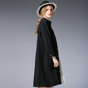 Image 2 - [EWQ] 2020 אביב סתיו חדש Loose ארוך שרוול הדפסת שחור לבן טלאים דש יחיד חזה Loose חולצה שמלה נשים AA250