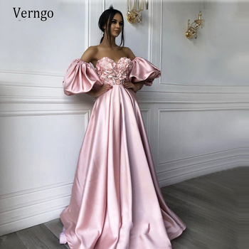 Verngo Elegant Pink Evening Dresses Long  Appliques Lace Stain Gowns Formal Prom Dress Robe De Soiree Occasion Party Gown