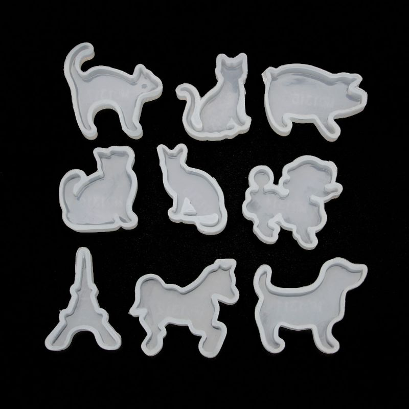 9Pcs Animals Cat Dog Horse Pig Pendant Resin Silicone Molds Jewelry Making Tools