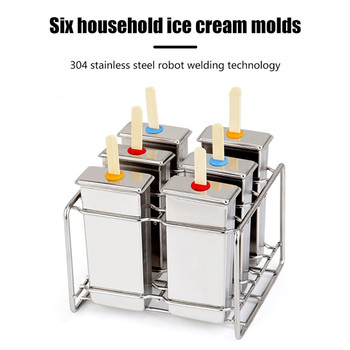 6PCS Stainless Steel Popsicle Mold Rack Ice Lolly Mold Frozen Lolly Popsicle Maker Homemade Ice Cream Mold with Popsicle Holder фото
