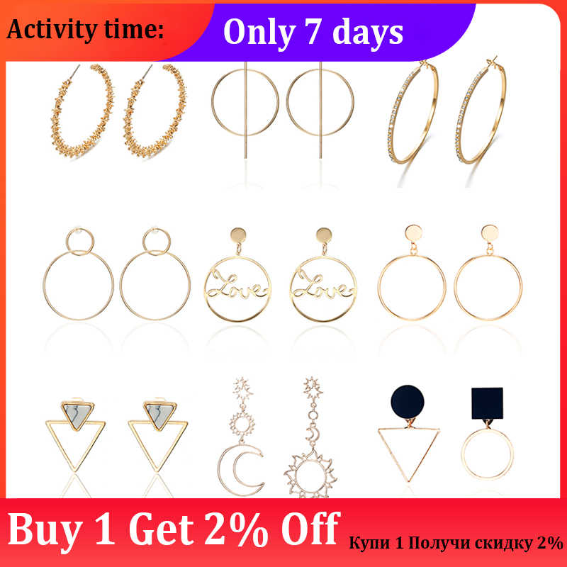 Simple Love Geometry Big Earrings Hollow Out Face Earrings Circular Star Moon Elegant Earrings Gifts For Women Wedding Party