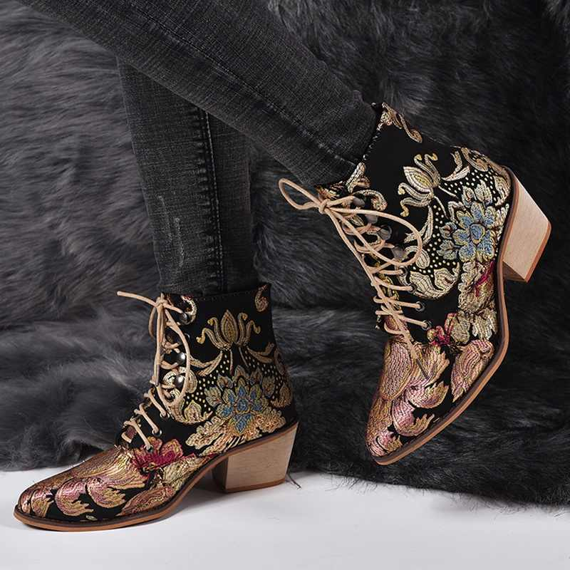 Oeak Spring Retro Women Embroidery Flower Short Boots Lady Lace Up Ankle Boots Female Botas Mujer Pointed Toe Low Heel Boots