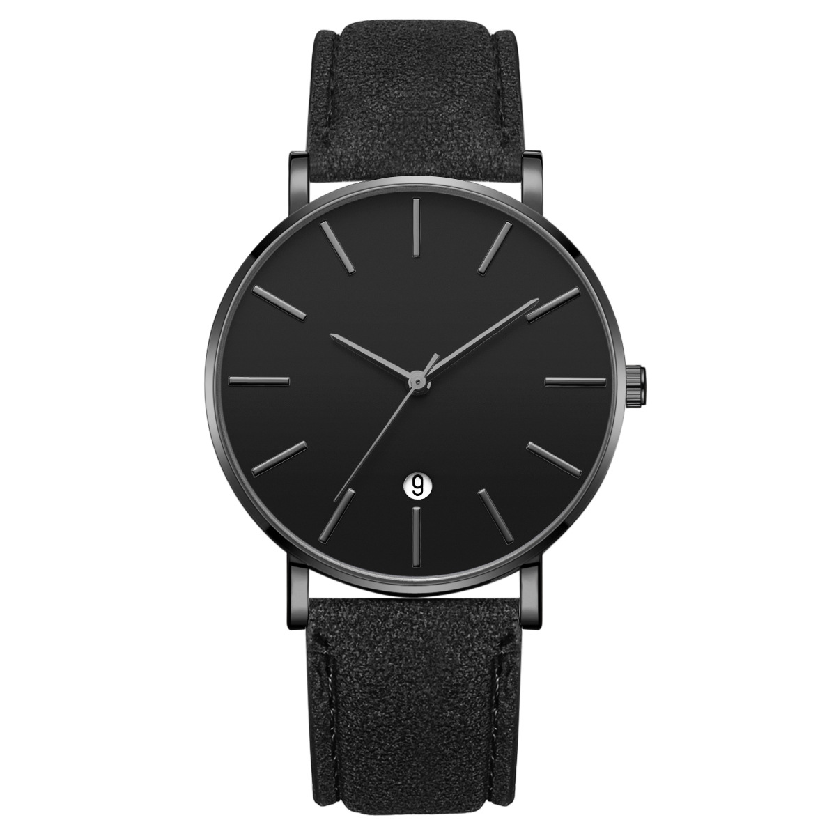 Simple Fashion Ultra-thin Men's Watches Date Synthetic Leather Analog Quartz Watch Men Watch Male Clock Relogio Masculino Mens