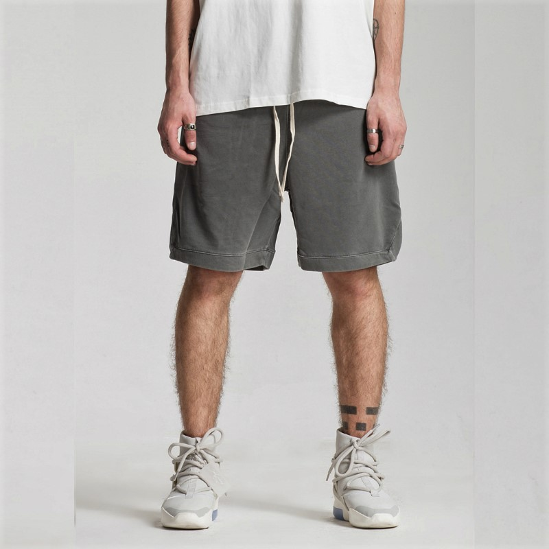 Washed Cotton Vintage Sweat Shorts Summer Elastic Waist Jogger Short