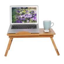 Table réglable en bambou pour ordinateur portable, idéale pour travailler sur PC au lit ou la lecture, parfait pour un dortoir, 1 unité