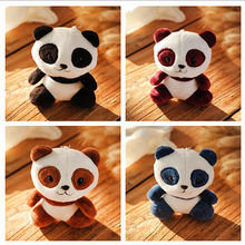 1pcs Lovely Panda Animal Dolls 10CM Baby Plush Toys 4 Colors Key Chain Ring Pendant Plush Toys Kids Gift(China)