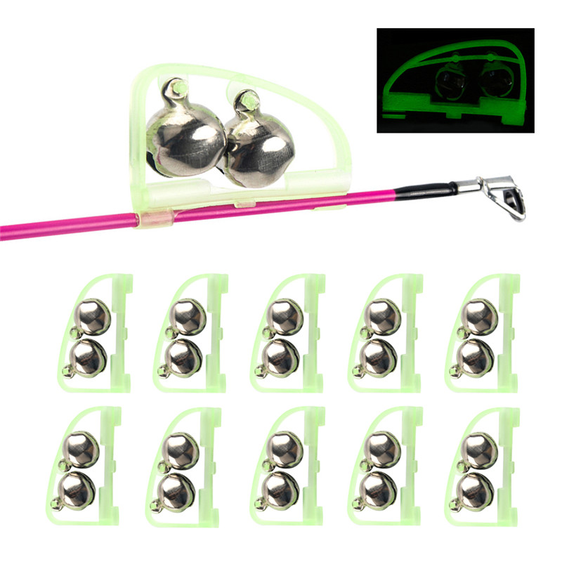 Hot 10PCS Luminous Sea Bream Bell, Automatic Double Bell Ring Fishing Alarm Outdoor Fishing Tackle