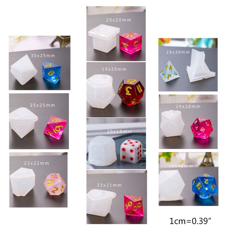 10 Pcs/Set New Transparent Silicone Mold Decorative Crafts UV Resin DIY Dice Mould Epoxy Molds Jewelry Making Moulds Sets