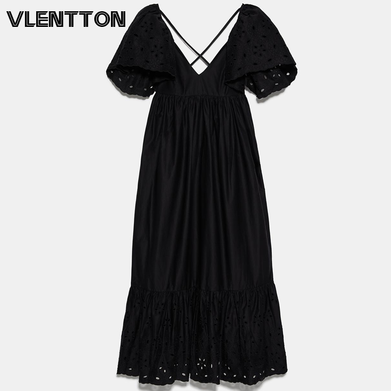 2020 Summer Black Sexy Hollow V-Neck Backless Maxi Dress Women Embroidery Short Sleeve A-Line Long Party Dresses Ladies Vestidos