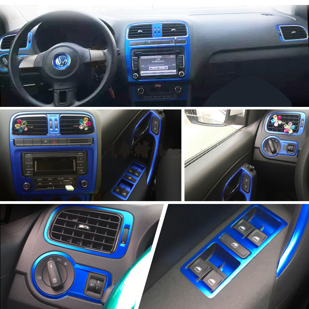 For Volkswagen VW  POLO MK5  Interior Central Control Panel Door Handle Carbon Fiber Stickers Decals Car Styling Accessorie