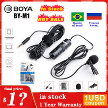 BOYA M1 3.5mm Audio Video Record Lavalier Lapel mikrofon nagrywanie mikrofon 6m klip na mikrofon dla iPhone Android DSLR Camera