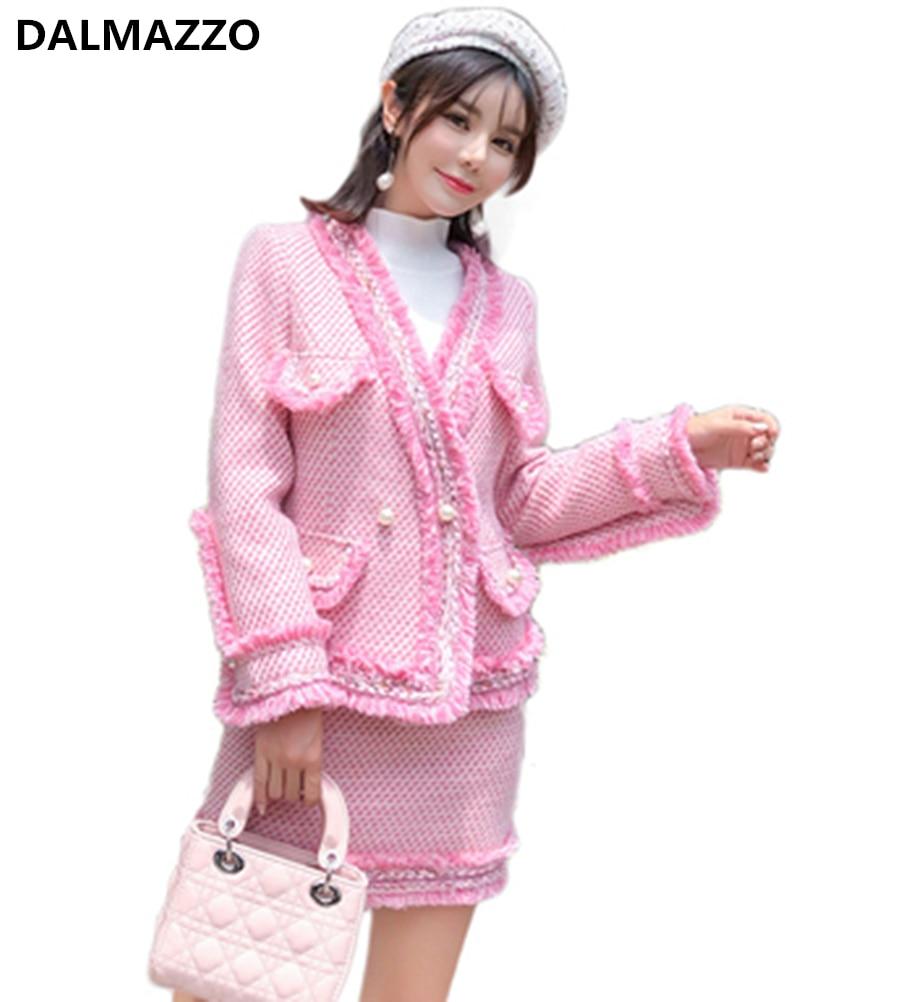 Tweed Wool Luxury Women's Skirt Suits Pink Tassel Pearls Jacket Coats + Mini Skirt Sets 2019 Autumn Winter Design Runway Suits