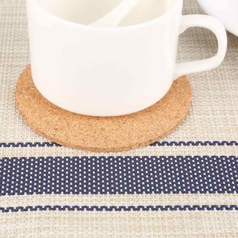 3/5/10 Pcs/lot Natural Cork Coaster Tahan Panas Cangkir Mug Mat Kopi Teh Panas Minuman Tatakan untuk meja Makan Dapur Aksesoris