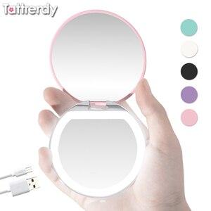Espelho de maquiagem LEVOU Iluminado Mini Espelho de Bolso Compacto Rosto Iluminação Espelho de Maquilhagem Espelho de Maquilhagem Viagens Portátil Dobrável