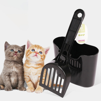Cat Litter Scoop Set Terrarium Hook Pet Poo PP Shovel Cleaning Sifter Save Space Black Box-packed Mesh Bedding image