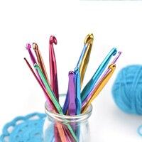 Aluminum Crochet Hooks Multicolor Mixed 2-10mm Knitting Needles DIY Craft Yarn Sewing Needle For Mom`s Gift