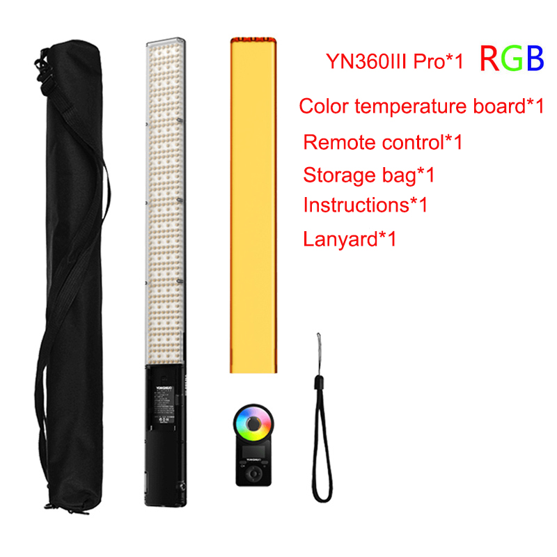 YONGNUO YN360III pro <font><b>LED</b></font> RGB Photography Light Temperature 3200K 5600K Handheld Light stick with remote control Fill Lighting image